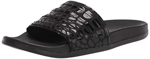 adidas Unisex Adilette Comfort Slide Sandal, Black/Black/Black, 10 US Men