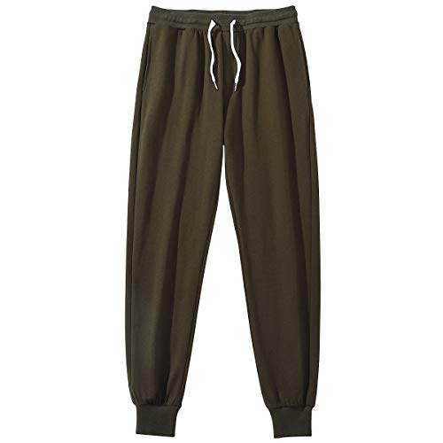 Amy Coulee Men's Casual Soft Cotton Fitness Sweatpants Joggers Track Pants (Army Green, XL)