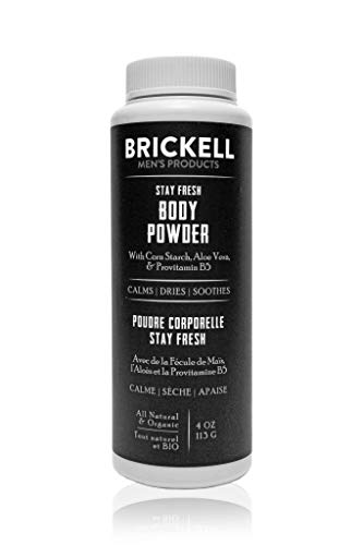 Brickell Men's Products Stay Fresh Body Powder for Men, Natural and Organic Talc-Free, Absorbs Sweat, Keeps Skin Dry, 4 Ounce, Scented