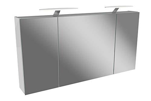 FACKELMANN LED Spiegelschrank 120 cm Tamia/Badschrank mit 3D Effekt/Maße (B x H x T): ca. 120 x 62 x 13,6 cm/Schrank mit Spiegel & LED-Beleuchtung für das Badezimmer / 3 Türen/Korpus: Weiß