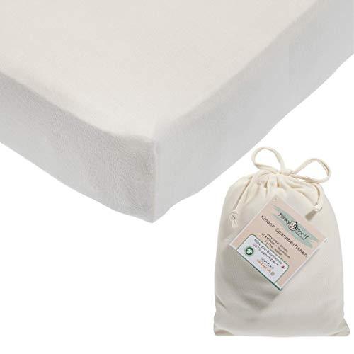 Spannbettlaken aus reiner BIO-Baumwolle für 70x140-60x120 cm Kinderbett   Kinder & Baby Spannbetttuch/Bettlaken in Natur-weiß für Mädchen und Jungen (GOTS und Oeko-tex zertifiziert) (Weiß)