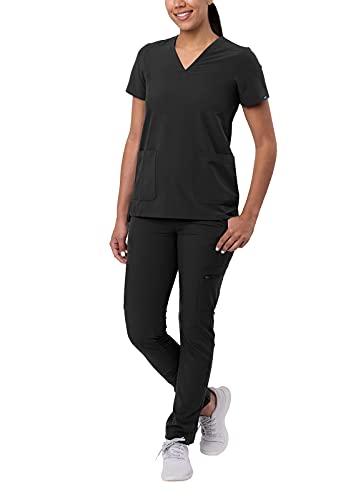 Adar Addition Go-Basic Scrub Set for Women - Slim V-Neck Scrub Top & Skinny Cargo Scrub Pants - A9200 - Black - S