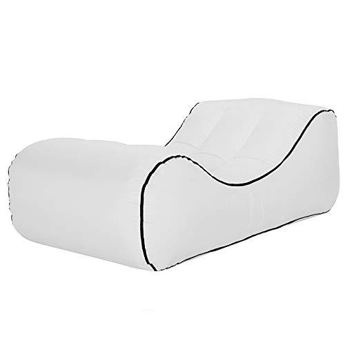 EWBF Aufblasbare Sonnenliege - Premium Air Sofa, Luftmatratze für den Pool, Wandern mit dem Rucksack im Freien,White,120x60x35cm
