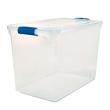 HOMZ Plastic Storage, Modular Stackable Storage Bins with Blue Latching Handles,112 Quart, Clear, Stackable, 2-Pack