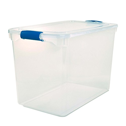 Homz Plastic Storage Modular Stackable Storage Bins with Blue Latching Handles112 Quart Clear Stackable 2Pack