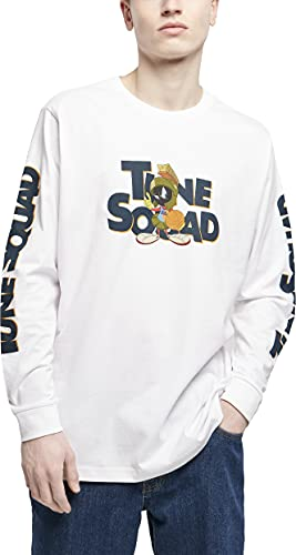 Mister Tee Space Jam Taz Pose Longsleeve Camiseta, Blanco, XS para Hombre