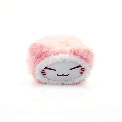 Nemu Nemo Neko Mini Fell Pink Pastell Manga Anime Otaku Kawaii Stofftier Plüschtier Plush Cat Merchandise zum Kuscheln Original aus Japan Höhe 10cm und Breite 15cm