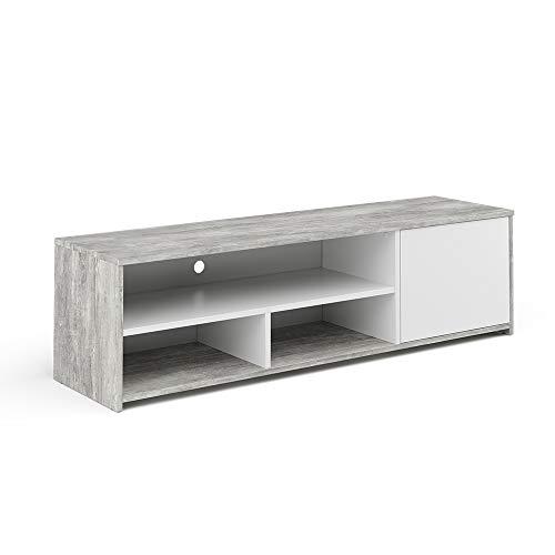 Vicco Lowboard TV-Board Fernsehschrank Gino Fernsehtisch TV-Schrank (Beton-Weiß)