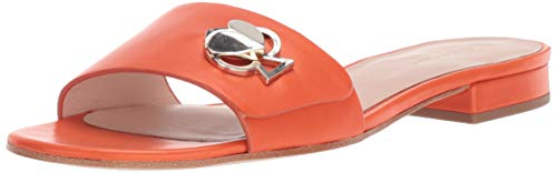 Kate Spade New York Women's Ferry Sandal Flat, Juicy Orange, covid 19 (Orange Leather Footwear coronavirus)