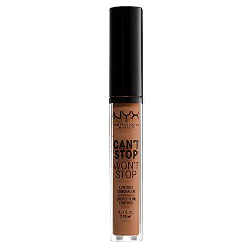 NYX Professional Makeup Correttore Can't Stop Won't Stop, Correttore Viso Liquido, Adatto a Tutti gli Incarnati, Warm Caramel, Confezione da 1
