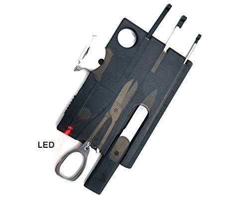 SwissCard Taschenwerkzeug | Multifunktionswerkzeuge | Kreditkarte Messer | 10in1 Camping Multitool mit Led (Schwarz)