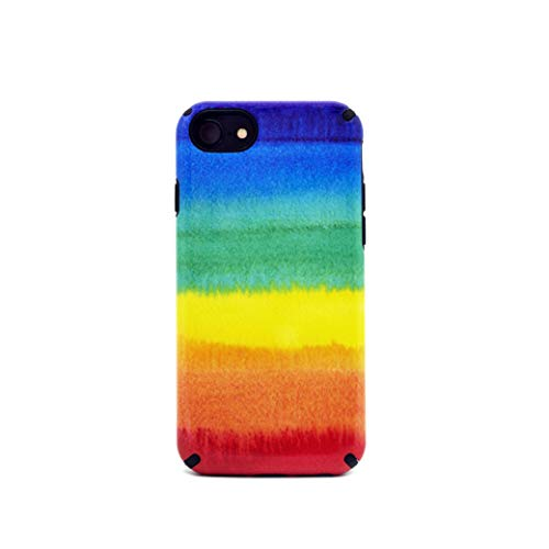 Rainbow case Compatible with Apple iPhone 7/8 Plus Case, LGBT Slim Dual Layer Scratch Protective Case Fit for Apple iPhone Hybrid Hard Back Cover and Soft Shock-Absorption TPU Bumper QMCH02
