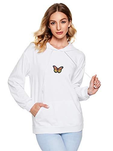 DIDK Damen Kapuzenpullover Hoodie Pulli Sweatshirt mit Schmetterling Langarmshirt Oberteil mit Kapuzen Weiß S