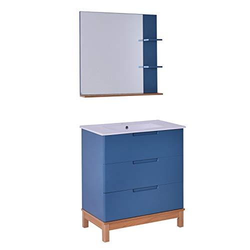 kleankin Set Mobili da Bagno 3 Pzi: Mobiletto sotto Lavabo (3 Cassetti), Lavandino e Specchio (3 Ripiani), Legno MDF Blu