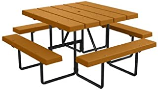 Kirby Built Products 4' Square BarcoBoard Plastic Picnic Table - Cedar - Seats 8