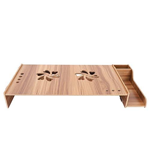 Soporte vertical de madera para monitor, exquisita caja de almacenamiento de soporte de escritorio con portalápices Dos ventilaciones en forma de flor Agujero de alambre de gran(madera de cereza)