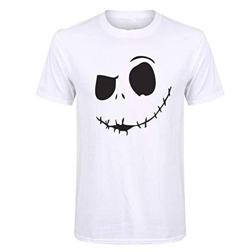 JDHABQ Camiseta Pesadilla Antes De Navidad Dibujos Animados Hombres Camiseta MuecaNueva Halloween Hip Hop Streetwear Camiseta-MT0007-blanco