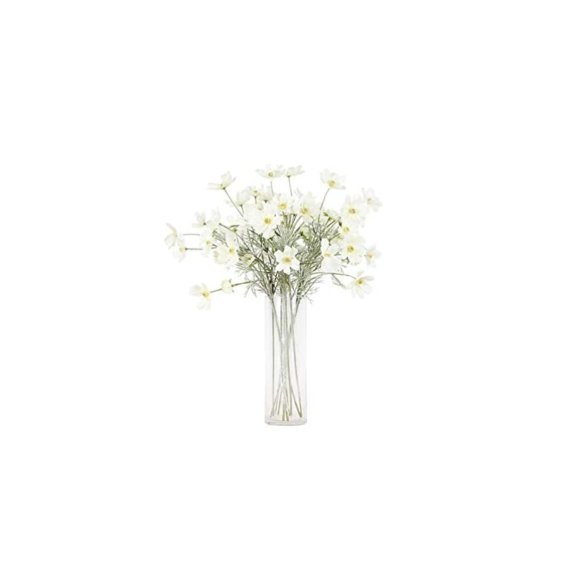 """silk flower arrangements lemon. floral 2pieces 23.6"""" long of 6 head cosmos artificial flower artificial flowers fake flower for wedding home office party hotel restaurant patio or yard decoration(white)"""