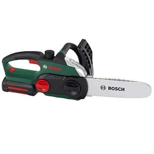 Theo Klein 8399 Motosega Bosch, Riproduzione fedele all'originale e a misura di bambino, Sega a batterie con effetti sonori e luminosi, Giocattolo per bambini a partire dai 3 anni