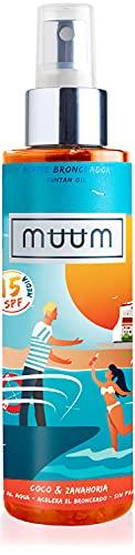 muum - Aceite Bronceador SPF15 de Coco y Zanahoria - Acelerador del Bronceado con Antioxidantes Naturales, Hidrata y previene manchas y arrugas - Bronceado intenso y natural - 150 ml.