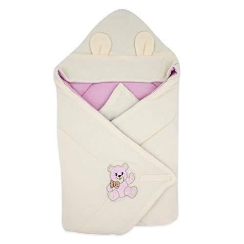 BlueberryShop Thermo Terry coperta con cappuccio per avvolgere il bambino, Sacco a pelo per neonati, Baby Shower, 78 x 78 cm, Rosa