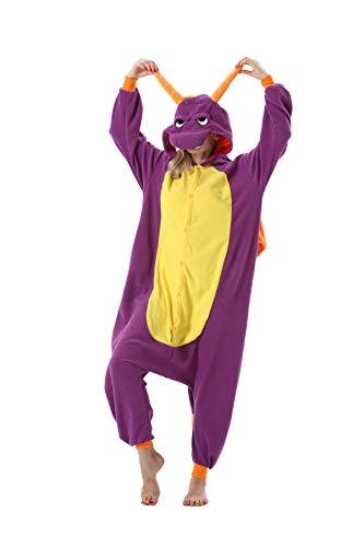 Erwachsene Jumpsuit Onesie Tier Karton Fasching Halloween Kostüm Sleepsuit Cosplay Overall Pyjama Schlafanzug, Lila Drache, XL