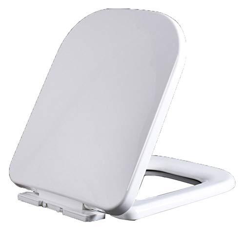 LFLYBCX PP WC Sitz Mit Absenkautomatik, Weiß Klodeckel Mit Pufferschalen-Deckel Stabile Scharniere Toilettendeckel Einfache Montage,für Quadratische Toilette