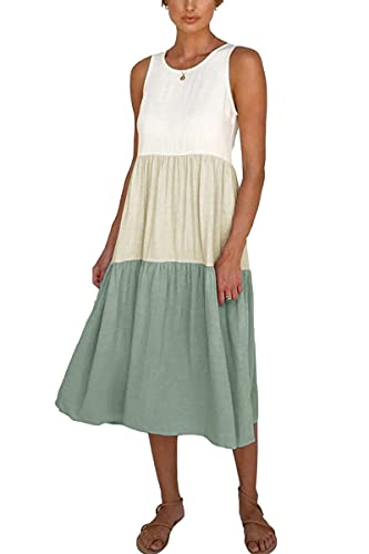 Partvece Women's Stitching Dress Sleeveless Summer Casual Loose Dress Crewneck Color Block Swing Dress Green
