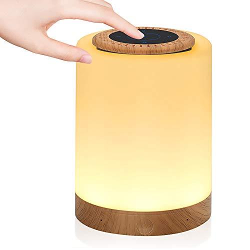 Luces nocturnas Altavoz Bluetooth, Lamparas de Mesita de Noche, Lámpara de Mesa USB lámpara de noche con Altavoz Bluetooth, Lámpara LED de control táctil Regulable Luces cálidas 7 colores