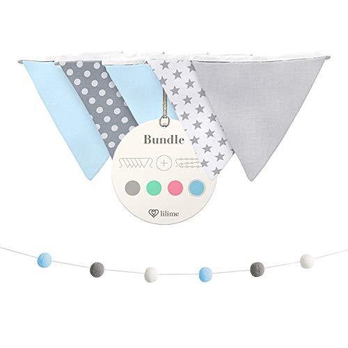lilime® Wimpelkette Inkl. GRATIS Girlande ideal für Dekoration im Kinderzimmer - Unsere Wanddeko für dein Kind - Super süße Deko für jedes Babyzimmer (1.9M) (Grau-Weiß Blau)