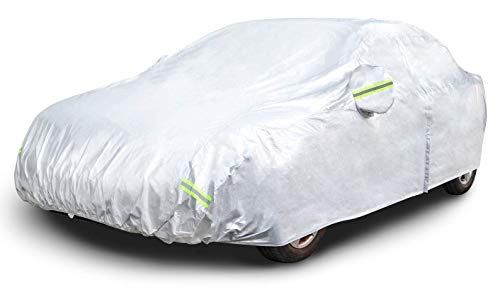 AmazonBasics Silver Weatherproof Car Cover - 150D Oxford, SUVs up to 190""