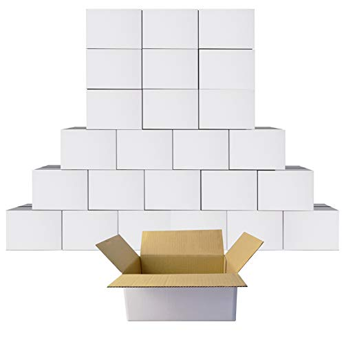 Cardboard Boxes 6x4x4 Shipping Boxes White Kraft Corrugated Small Mailer Boxes, 25 Pack