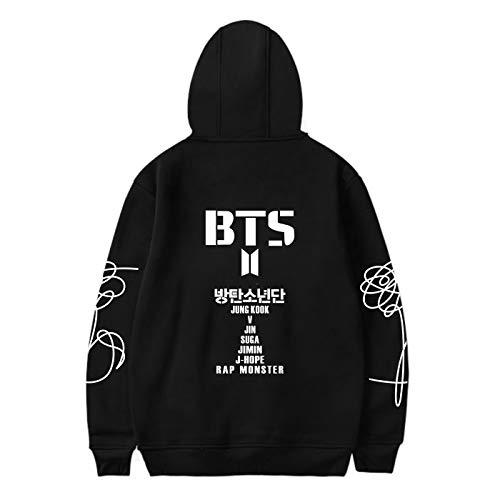 SERAPHY WOOKIT Unisex Kapuzenpullover Sweatshirt Sieben Namen auf der Rückseite für Army Suga Jimin Jin Jung Jook J-Hope Rap-Monster V-BW-Schwarz-M
