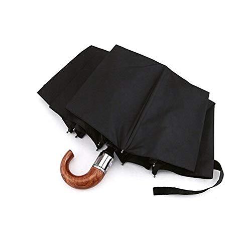 Cuero Marca curvados Hombres conducen los Asuntos automático Macho Paraguas a Prueba de Viento Negro Grandes sombrillas de automóviles sombrilla Paraguas de la Lluvia (Color : B)
