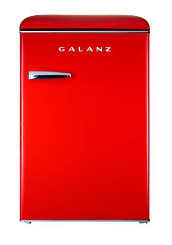Galanz GLR44RDER Retro Refrigerator, 4.4 Cu Ft, Red