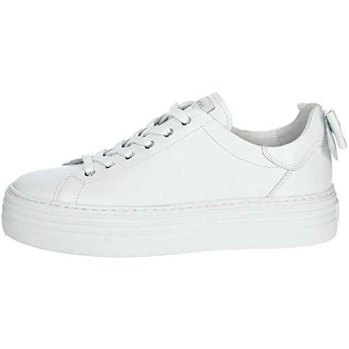 NEROGIARDINI - Sneaker in pelle bianca con fiocco
