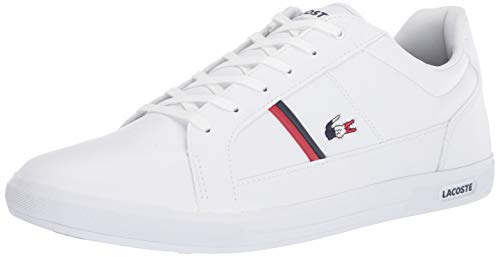 Lacoste mens Europa Tri1 Sma Sneaker, White/Navy/Red, 10.5 US