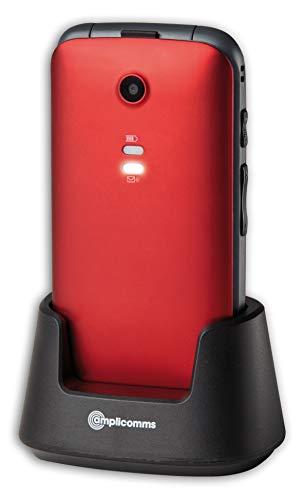 Amplicomms 907945 Seniorentelefon mit Notruftaste rot