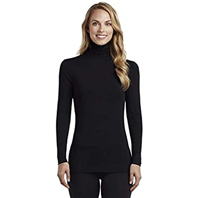 Cuddle Duds Women's Softwear with Stretch Long Sleeve Turtle Neck Top, Black, Medium