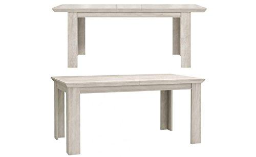 Furniture24 Tisch Kashmir KSMT40, Küchentisch, Esstisch ausziehbar 160-207 cm (Pinie Weiß)