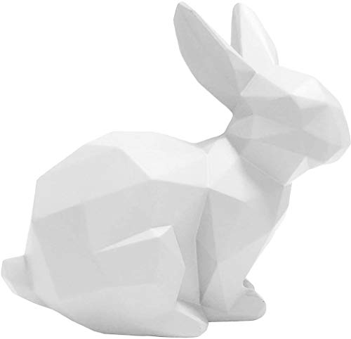 Present Time - Statue Lapin Assis Blanc Origami
