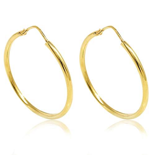 Inscintille - Pendientes de aro finos de plata dorada - 1 cm