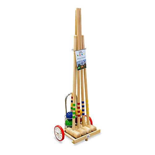 GICO Krocketwagen/Krocket/Croquet Family para 4 jugadores, de madera en carrito de transporte, diversión al aire libre/jardín con calidad de madera maciza para toda la familia, fabricado en EU 3112
