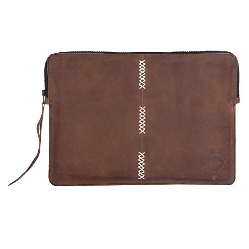 Zipper 13-13.3 inch Leather & Felt Laptop Sleeve | case | Cover with Front Pocket | Compartment Compatible with Apple MacBook Air | pro Handmade for Men Women - Black & Tan (Brown - Cross)