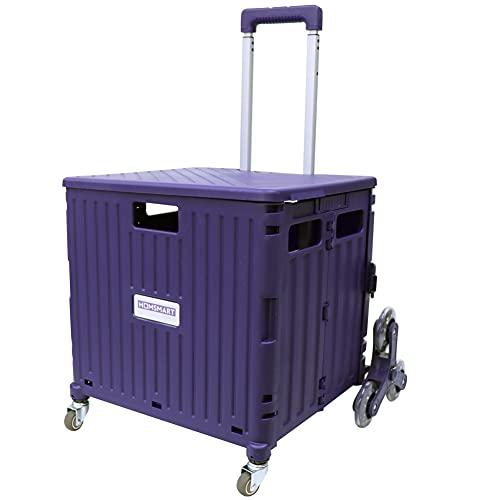 [スーツケースカンパニー]GPT 折りたたみ キャリーカート 大容量 65L 階段 段差 お買い物 キャリー コンテナ フタ付き アウトドア キャンプ コンパクト 台車 パープル