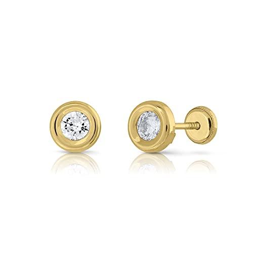Pendientes Oro de Ley Certificado. redondo bicelado. Niña/Mujer. circón 4.00 mm cierre de rosca de seguridad (1-3384-4)