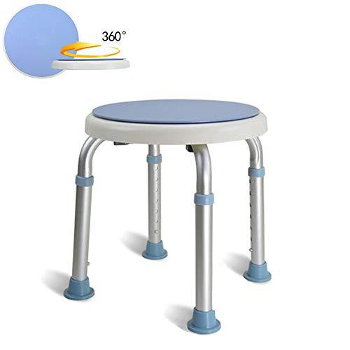 COOSNUG Drehbarer Duschhocker 360° Duschstuhl Höhenverstellbar 36-51cm Anti-Rutsch ohne Rückenlehne für Alten und Schwangere