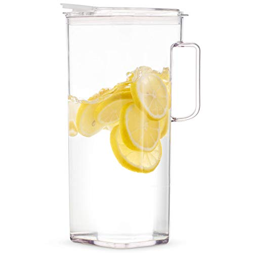 Komax Clear Large Tritan Pitcher with Lid | 77 Oz - 2.4 Quart (Full Capacity Jug) | Drink Pitcher for Water, Juice, Ice Tea, Lemonade, Sangria & Milk | Airtight, BPA Free, Square Shape Water Pitcher