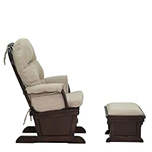 Solid Wood Construction, Incredibly Smooth Gliding, Soft and Breathable Fabric, Baby Nursery Relax Rocker Rocking Chair Glider and Ottoman Set with Cushion, Smooth Faux Suede, Extra Plush Foam Padding