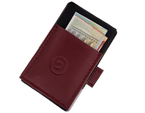 TRAVEL DUDE Mini Kartenetui mit Münzfach & Zugband | Minigeldbeutel für Herren & Damen mit Zuglasche | Minimalistischer Kartenhalter/Portmonnaie für Kreditkarte | Vegan (Weinrot)